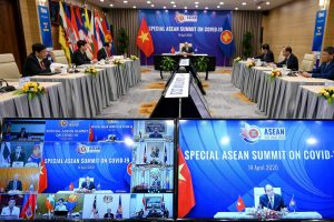 Vietnam's Prime Minister Nguyen Xuan Phuc addresses a special video conference with leaders of the Association of Southeast Asian Nations (ASEAN), on the coronavirus disease (COVID-19), in Hanoi 14 April 2020 (Manan Vatsyayana/Pool via Reuters).