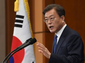 South Korean President Moon Jae-in speaks on the occasion of the third anniversary of his inauguration at the presidential Blue House in Seoul, South Korea, 10 May 10 2020 (Kim Min-Hee/Pool via Reuters).