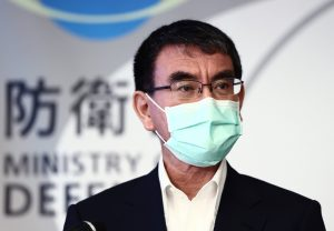 Japan's Defense Minister Taro Kono attends a press conference to speak about stopping the deployment procedure of the ground-based interception system 'Aegis Ashore' at Defence Ministry in Shinjuku Ward, Tokyo on 25 June 25 2020 (The Yomiuri Shimbun).