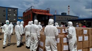 Medical officers prepare to send boxes with protective suits and masks as a donation for government, amid coronavirus disease (COVID-19) outbreak in Konawe, Southeast Sulawesi Province, Indonesia, 14 April 2020 (Photo: Reuters/Antara Foto).