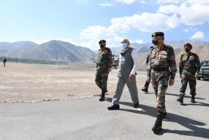 India's Prime Minister Narendra Modi visits Himalayan region of Ladakh, 3 July 2020 (Photo: India's Press Information Bureau Handout via Reuters).