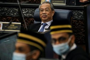 Malaysia's Prime Minister Muhyiddin Yassin reacts during a session of the lower house of parliament, in Kuala Lumpur, Malaysia 13 July, 2020 (Photo: Reuters/Huey Teng).