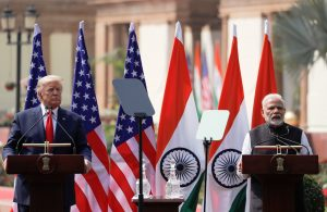 US President Donald Trump and Indian Prime Minister Narendra Modi make joint statements after bilateral talks at Hyderabad House in New Delhi, India, 25 February 2020 (Photo: Reuters/Al Drago).