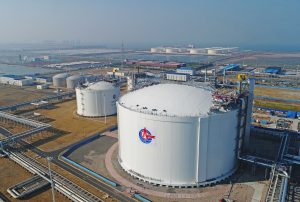 An aerial view of a liquefied natural gas (LNG) storage tank of CNOOC (China National Offshore Oil Corporation) in Tianjin, China, 12 October 2018 (Photo: Reuters).