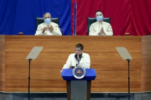 Philippine President Rodrigo Duterte speaks during his State of the Nation Address at the plenary hall of the House of Representatives in Quezon City, Philippines, 27 July 2020 (Photo: Presidential Photos via Reuters).